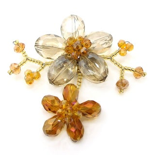 Handmade Brown Luster Crystal Blooming Floral Love Pin-Brooch (Thailand)