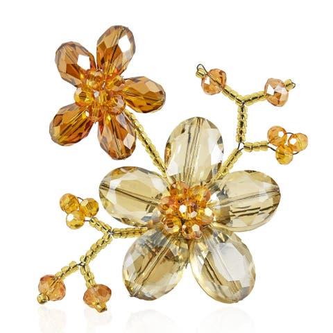 b3672ffdd2d Handmade Brown Luster Crystal Blooming Floral Love Pin-Brooch (Thailand)