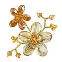 Handmade Brown Luster Crystal Blooming Floral Love Pin-Brooch (Thailand)