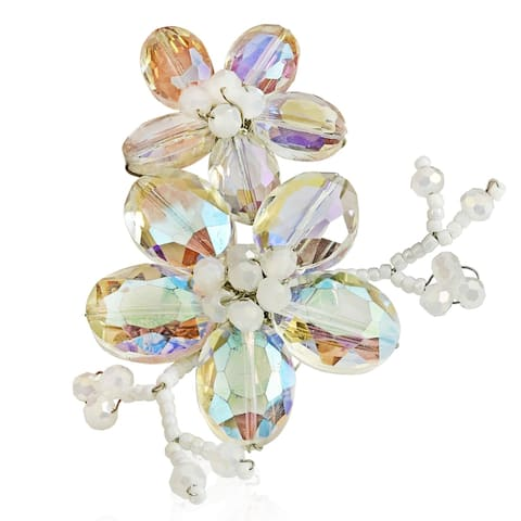 Handmade Clear Luster Crystal Blooming Floral Love Pin Brooch (Thailand)