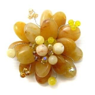 Handmade Orange Petals Agate Stone Lotus Flower Pin/Brooch (Thailand)