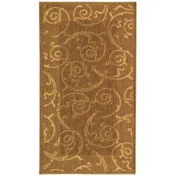 """Safavieh Oasis Scrollwork Brown/ Natural Indoor/ Outdoor Rug (2' x 3'7"""")"""