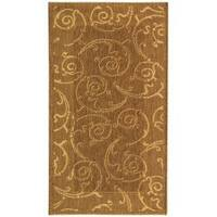 Safavieh Oasis Scrollwork Brown/ Natural Indoor/ Outdoor Rug - 2' x 3'7