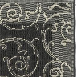 Safavieh Oasis Scrollwork Black/ Sand Indoor/ Outdoor Rug (2' x 3'7) - Thumbnail 1