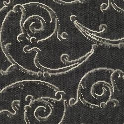 Safavieh Oasis Scrollwork Black/ Sand Indoor/ Outdoor Rug (2' x 3'7) - Thumbnail 2