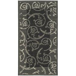 Safavieh Oasis Scrollwork Black/ Sand Indoor/ Outdoor Rug (2' x 3'7)