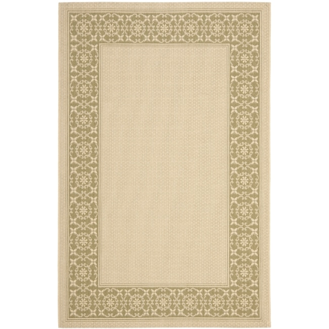 Safavieh Courtyard Cream/ Green Indoor/ Outdoor Rug (5'3 x 7'7)