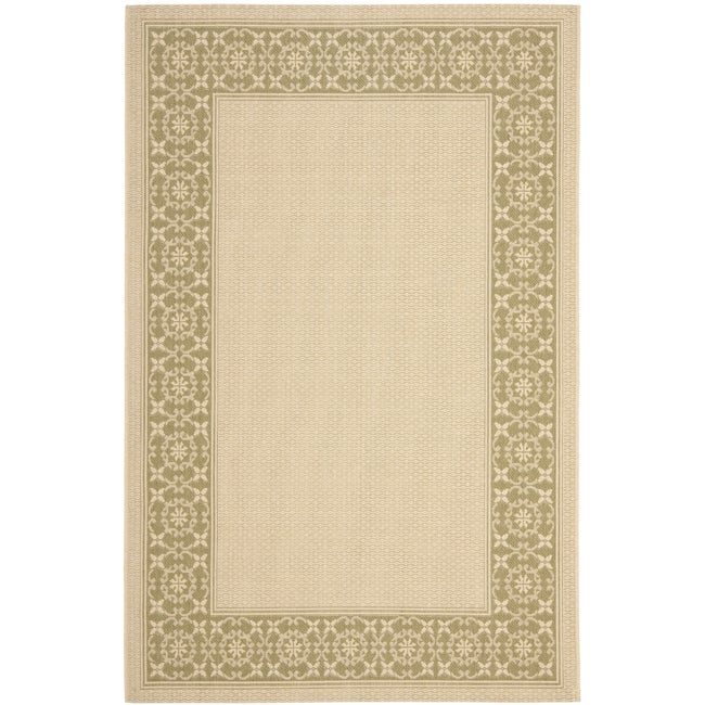 Safavieh Courtyard Cream/ Green Indoor/ Outdoor Rug - 8' x 11'2'