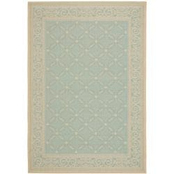 Safavieh Poolside Aqua and Cream Indoor/ Outdoor Area Rug (8' x 11'2)