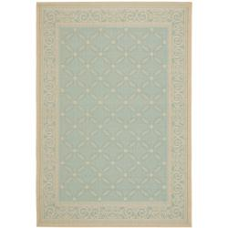 Safavieh Courtyard Aqua/ Cream Indoor/ Outdoor Rug (8' x 11'2)
