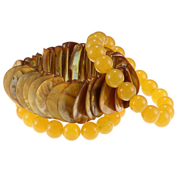 Mother of Pearl and Yellow Quartzite 3-piece Stretch Bracelet Set