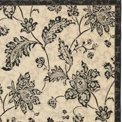 Safavieh Courtyard Cream/ Black Indoor/ Outdoor Rug (6'7 x 9'6) - Thumbnail 1