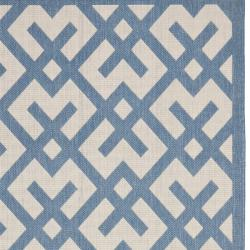 Safavieh Courtyard Contemporary Beige/ Blue Indoor/ Outdoor Rug (4' x 5'7) - Thumbnail 1