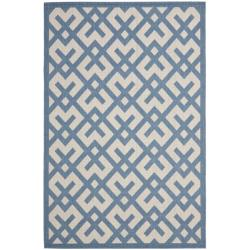 Safavieh Courtyard Contemporary Beige/ Blue Indoor/ Outdoor Rug (4' x 5'7)