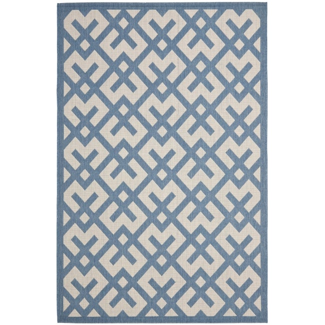 Safavieh Courtyard Contemporary Beige/ Blue Indoor/ Outdoor Rug (5'3 x 7'7)