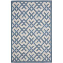 Safavieh Courtyard Contemporary Beige/ Blue Indoor/ Outdoor Rug (5'3 x 7'7)