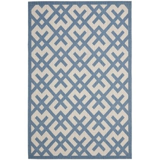 Safavieh Courtyard Contemporary Beige/ Blue Indoor/ Outdoor Rug (8' x 11'2)