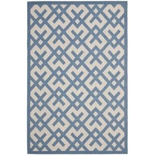 Safavieh Courtyard Contemporary Beige/ Blue Indoor/ Outdoor Rug (8' x 11'2)
