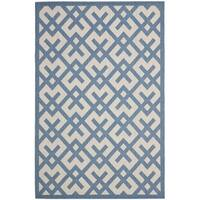 Safavieh Courtyard Contemporary Beige/ Blue Indoor/ Outdoor Rug - 8' x 11'2