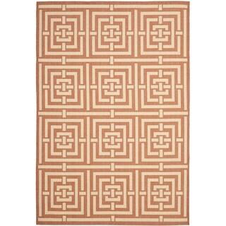 Safavieh Poolside Terracotta/ Cream Indoor Outdoor Rug (4' x 5'7)