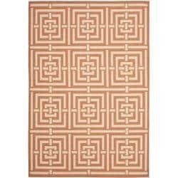 Safavieh Poolside Terracotta/Cream Indoor-Outdoor Geometric Rug (5'3 x 7'7)