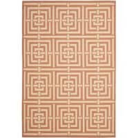 Safavieh Poolside Terracotta/Cream Indoor-Outdoor Geometric Rug - 5'3 x 7'7