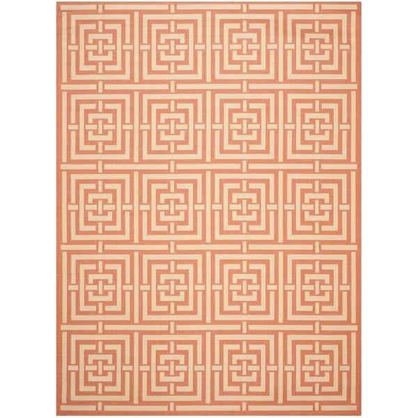 Safavieh Poolside Terracotta/ Cream Geometric-patterned Indoor/ Outdoor Rug - 8' X 11'