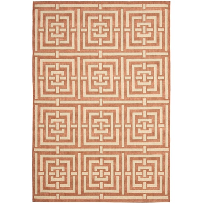 Safavieh Poolside Terracotta/ Cream Indoor Outdoor Rug - 9' x 12'