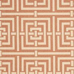 Safavieh Poolside Terracotta/ Cream Indoor Outdoor Rug (9' x 12') - Thumbnail 2
