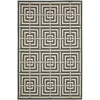 Safavieh Poolside Black/ Bone Indoor Outdoor Rug - 4' x 5'7