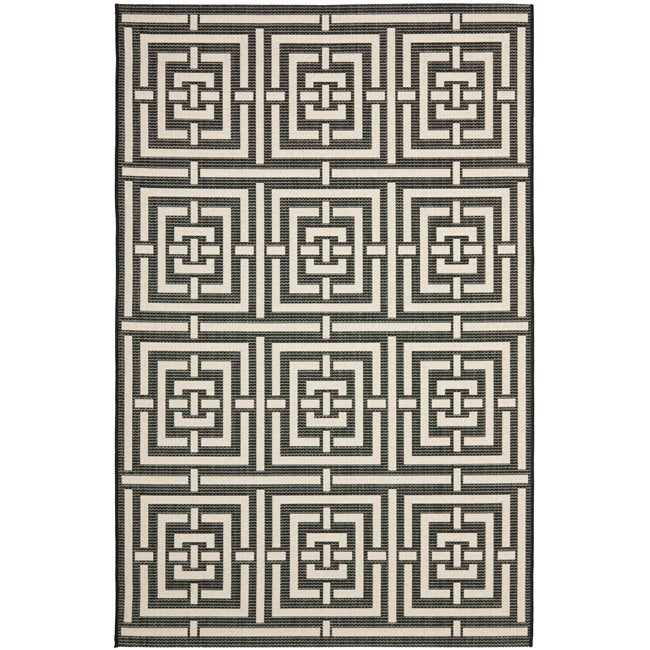 Safavieh Poolside Black/ Bone Indoor Outdoor Rug - 8' x 11'2