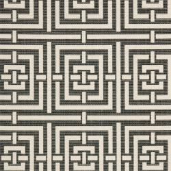 Safavieh Poolside Black/ Bone Indoor Outdoor Rug (8' x 11'2) - Thumbnail 2