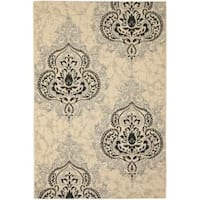 Safavieh Poolside Cream/ Black Indoor Outdoor Rug - 8' x 11'2