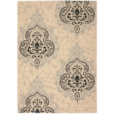 Safavieh Poolside Cream/ Black Indoor Outdoor Rug - 8' x 11'