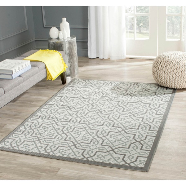 "Safavieh Light Gray/Anthracite Indoor/Outdoor Border Rug (4' x 5'7"")"