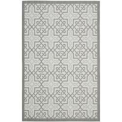 Safavieh Light Grey/ Anthracite Indoor Outdoor Rug (5'3 x 7'7)