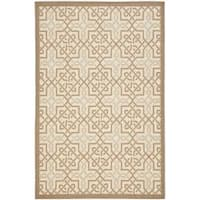 Safavieh Poolside Beige/ Dark Beige Indoor Outdoor Border Rug - 5'3 x 7'7