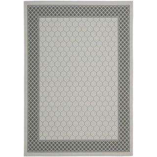 Safavieh Light Grey/ Anthracite Indoor Outdoor Rug (4' x 5'7)