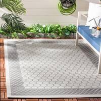 Safavieh Light Grey/ Anthracite Indoor Outdoor Rug - 5'3 x 7'7