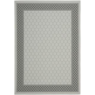 Safavieh Light Grey/Anthracite Modern Border Indoor/Outdoor Rug (8' x 11'2)