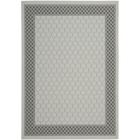 Safavieh Light Grey/Anthracite Modern Border Indoor/Outdoor Rug - 8' x 11'2