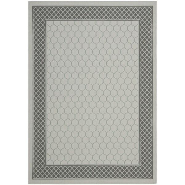 Safavieh Light Grey/Anthracite Modern Border Indoor/Outdoor Rug - 8' X 11'