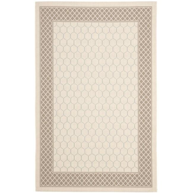 Safavieh Poolside Beige/Dark Beige Indoor/Outdoor Lattice-Pattern Rug (6'7 x 9'6)