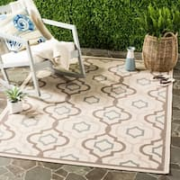 Safavieh Poolside Beige/Dark Beige Indoor/Outdoor Bordered Rug - 4' x 5'7""