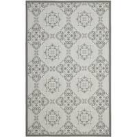 Safavieh Light Grey/ Anthracite Indoor Outdoor Rug - 8' x 11'2