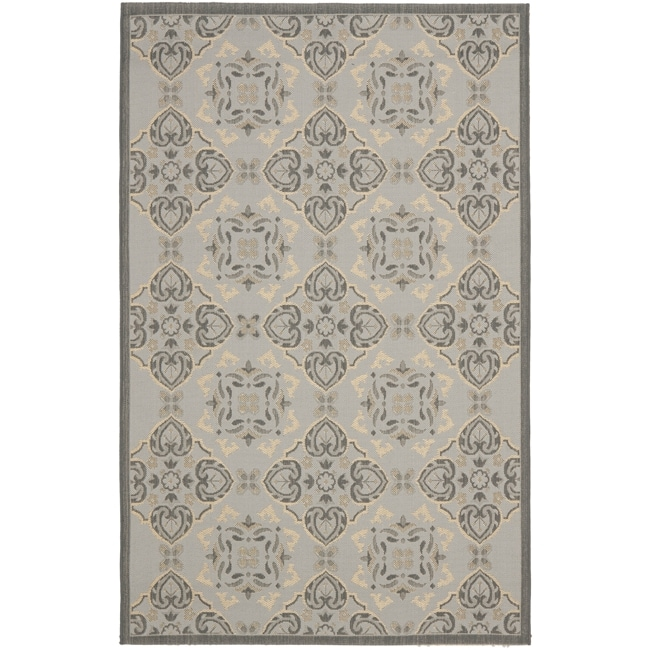 "Safavieh Power-Loomed Light Gray/Anthracite Indoor/Outdoor Rug (4' x 5'7"")"