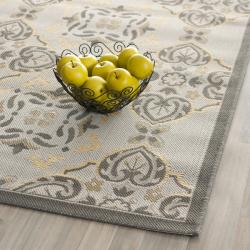 "Safavieh Power-Loomed Light Gray/Anthracite Indoor/Outdoor Rug (4' x 5'7"") - Thumbnail 1"