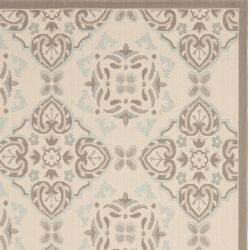 Safavieh Poolside Beige/Dark Beige Indoor/Outdoor Floral Rug (6'7 x 9'6) - Thumbnail 2
