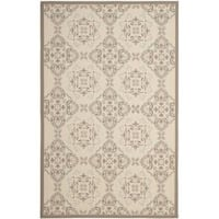 Safavieh Poolside Beige/Dark Beige Indoor/Outdoor Floral Rug - 6'7 x 9'6