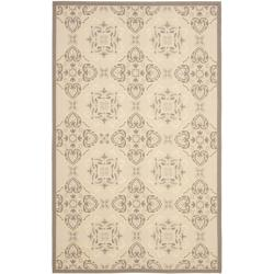 Safavieh Poolside Beige/Dark Beige Indoor/Outdoor Transitional Rug (6'7 x 9'6)